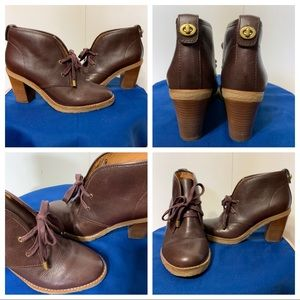 COACH Leather LaceUp Ankle Booties RARE SZ 6B
